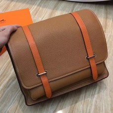 Hermes Bicolor Steve 35 Messenger Brown Bag