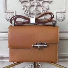 Hermes Brown Epsom Verrou Shoulder Handmade Bag