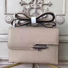 Hermes Grey Epsom Verrou Shoulder Handmade Bag