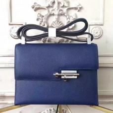 Hermes Sapphire Epsom Verrou Shoulder Handmade Bag