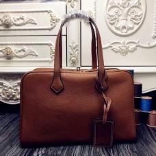 Hermes Victoria II 35cm Bag In Brown Leather