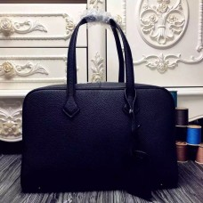 Hermes Victoria II 35cm Bag In Black Leather