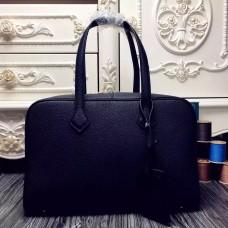 Hermes Victoria II 35cm Bag In Black Leather