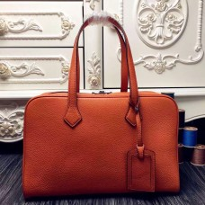 Hermes Victoria II 35cm Bag In Orange Leather