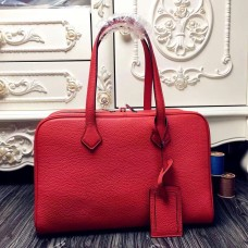 Hermes Victoria II 35cm Bag In Red Leather