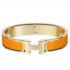 Hermes Orange Enamel Clic H PM Bracelet