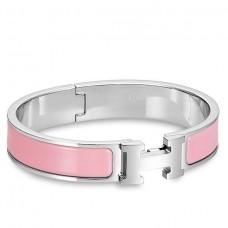 Hermes Pink Enamel Clic H PM Bracelet