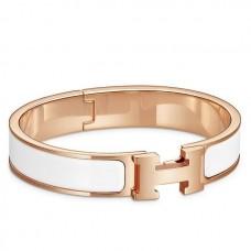 Hermes White Enamel Clic H PM Bracelet
