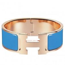 Hermes Blue Enamel Clic Clac H PM Bracelet