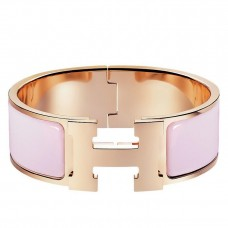 Hermes Rose Dragee Enamel Clic Clac H PM Bracelet