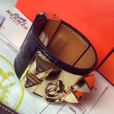 Hermes Black Alligator Collier de Chien Bracelet Size S