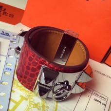 Hermes Red Alligator Collier de Chien Bracelet Size S