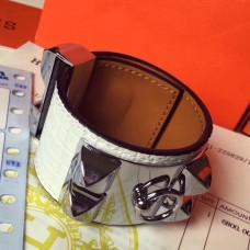 Hermes White Alligator Collier de Chien Bracelet Size S