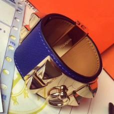 Hermes Blue Epsom Collier de Chien Bracelet Size S