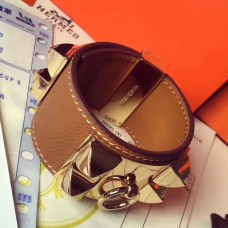 Hermes Brown Epsom Collier de Chien Bracelet Size S