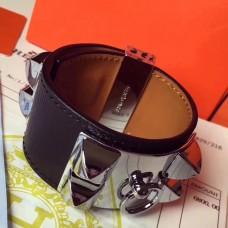 Hermes Black Epsom Collier de Chien Bracelet Size S
