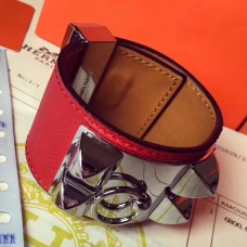 Hermes Red Epsom Collier de Chien Bracelet Size S