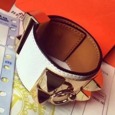 Hermes White Epsom Collier de Chien Bracelet Size S