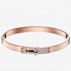 Hermes Rose Gold Small Kelly Bracelet With Diamonds