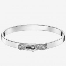 Hermes Silver Small Kelly Bracelet With Diamonds