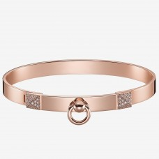 Hermes Rose Gold Collier de Chien Bracelet