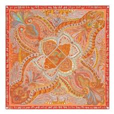 Hermes Saumon Le Jardin De La Maharani Silk Shawl