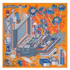 Hermes Orange Les tresors d'un Artiste Silk Scarf