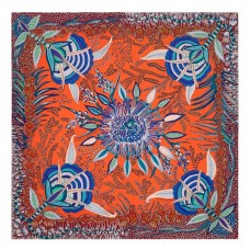 Hermes Orange Flowers of South Africa Silk Scarf
