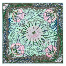 Hermes Vert Flowers of South Africa Silk Scarf