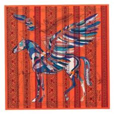 Hermes Orange Le Pegase d'Hermes au Bloc Shawl