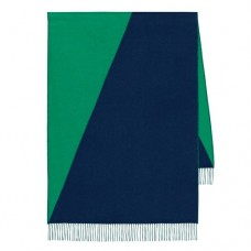 Hermes Casaque Stole In Green And Black Cashmere