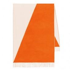 Hermes Casaque Stole In Beige And Orange Cashmere