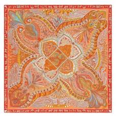 Hermes Orange Le Jardin de la Maharani Shawl