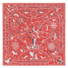 Hermes Red Peuple du Vent Bandana Shawl