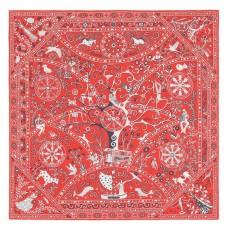Hermes Red Peuple du Vent Bandana Shawl