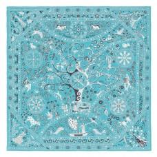 Hermes Turquoise Peuple du Vent Bandana Shawl