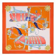 Hermes Orange Harnais De Cour Scarf 90