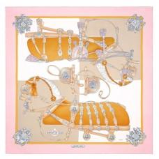 Hermes Pink Harnais De Cour Scarf 90