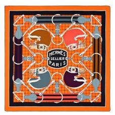 Hermes Orange Tatersale Cashmere Shawl 140