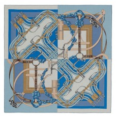 Hermes Blue Grand Manege A Jouets Shawl 140cm