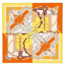 Hermes Yellow Grand Manege A Jouets Shawl 140cm