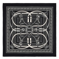 Hermes Black Grand Manege Bandana Shawl 140cm