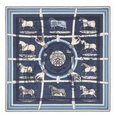 Hermes Blue H Imprimeur Fou Couvertures d'Ex-Libris Shawl 140cm