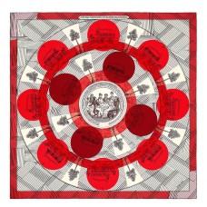 Hermes Red Jeu des Omnibus Remix Shawl 140