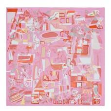 Hermes Pink Modernisme Tropical Scarf 140cm