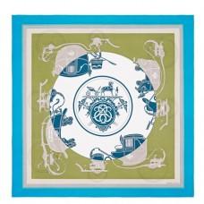 Hermes Cobalt Ex-Libris Coloriage Silk Shawl