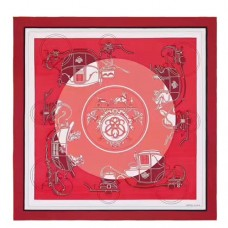 Hermes Red Ex-Libris Coloriage Silk Shawl