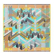 Hermes Turquoise Sangles en Zigzag Silk Scarf