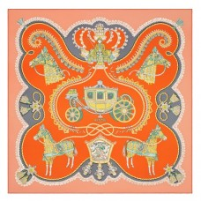 Hermes Orange Paperoles Silk Twill Scarf