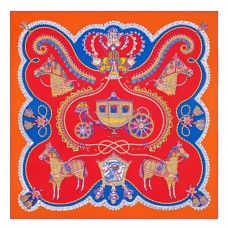 Hermes Red Paperoles Silk Twill Scarf